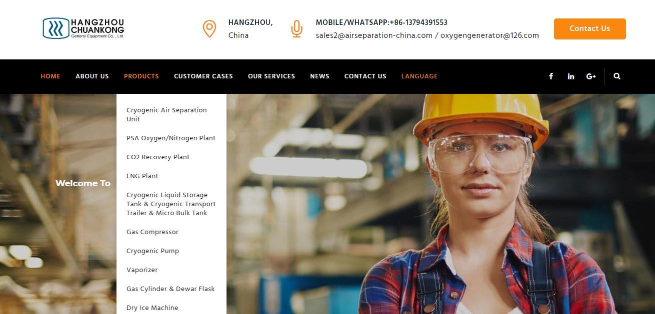 建站案例- 石油设备杭州川空通用公司选择百客聚建站服务-网站层级架构清晰